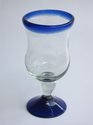 MEXICAN GLASSWARE / 'Cobalt Blue Rim' curvy water goblets (set of 6)